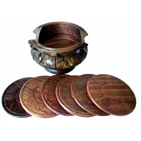 Ethnic Styles Kyushu Tea Set by Carved Wooden Tea Coaster Set Table Decor Antikcart