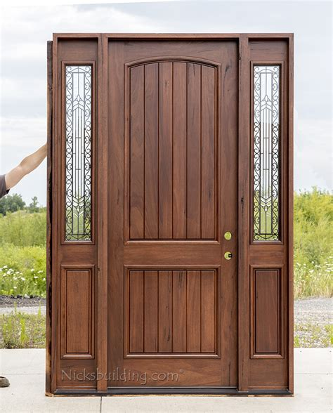 Teak Front Door Rustic Teak Exterior Wood Doors With Sidelites