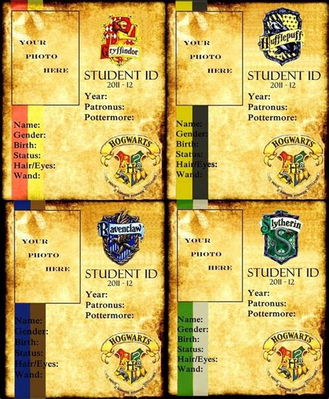 harry potter id card template 56 best harry potter printable miniature books news