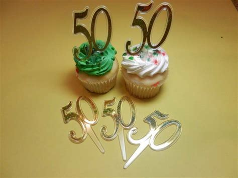 12  50th Gold Wedding Anniversary Number Cupcake Picks