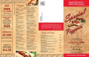 free pizza menu templates special pizzeria a customer