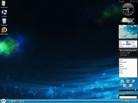 desktop themes for windows xp with clock enable vista style sidebar in windows xp desktop themes