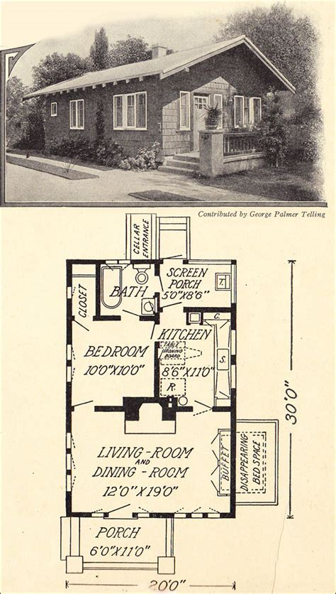 small retro house plans 1914 tiny cottage bungalow 600 sq ft george palmer