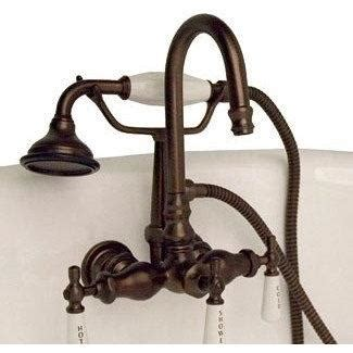 cambridge plumbing clawfoot tub faucet brass wall mount