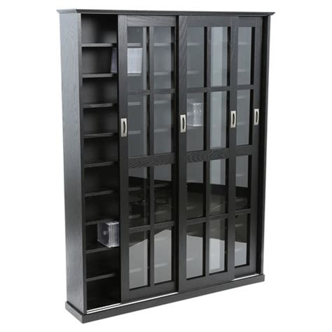Media Storage Cabinet With Glass Doors Leslie Dame Sliding Door Multimedia Storage Cabinet Reviews Wayfair