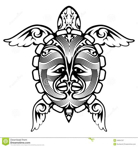 tribal totem animal turtle tattoo stock vector