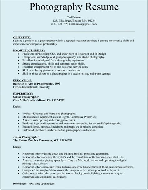 Resume Format For Excel Experience Photographer Resume The Best Resume