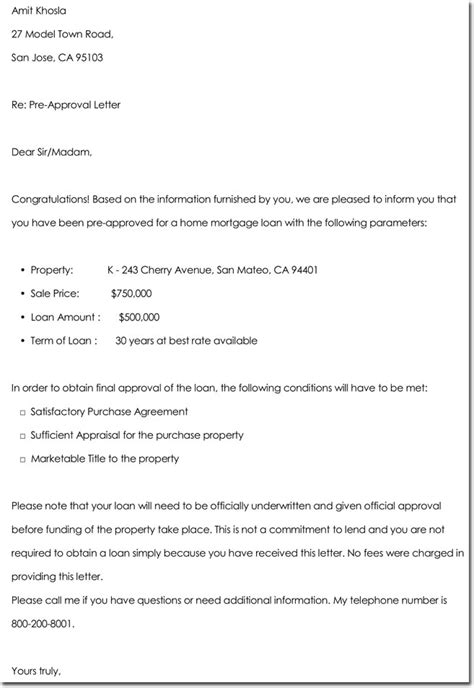 pre approval letter approval letter templates 10 sles exles formats 1543