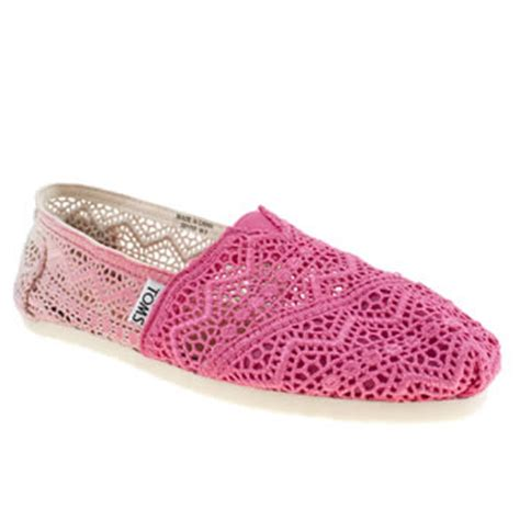 s pink toms classic crochet dip dye flats schuh