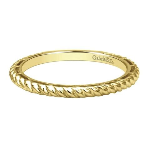 14k yellow gold rope band stackable ring