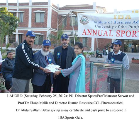 Mba Iba Punjab Lahore by Of The Punjab Press Release Pu Iba Sports