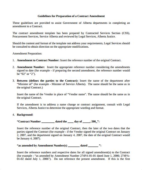 Letter Of Agreement Amendment sle contract amendment template 9 free documents in pdf
