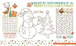 Christmas printable placemats for kids christmas crafts between