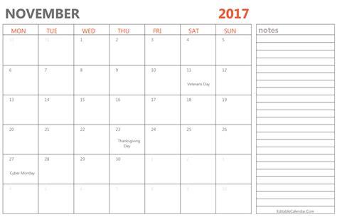 Calendar 2017 November Editable Editable November 2017 Calendar Template Ms Word Pdf