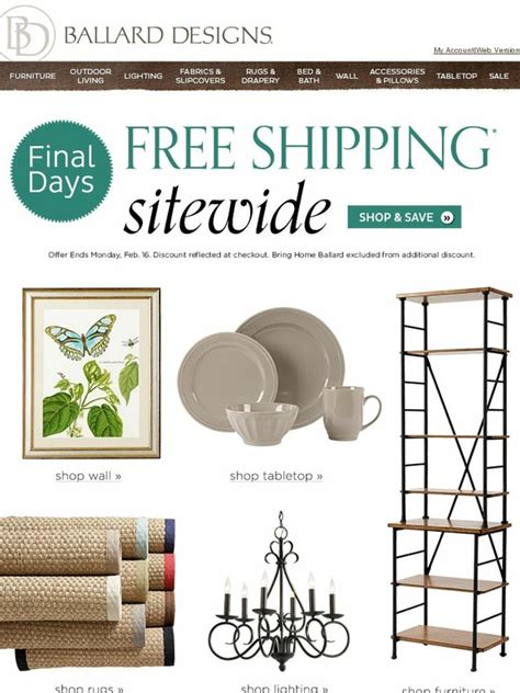 ballard design free shipping ballard designs email exclusive offer free shipping sitewide milled