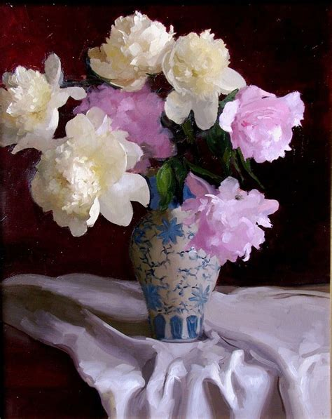 dwell and tell pink peonies dennis perrin peonies with blue white vase цветы