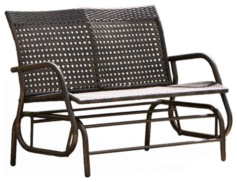 wicker bench outdoor burbank outdoor wicker glider bench brown transitional outdoor benches by gdfstudio