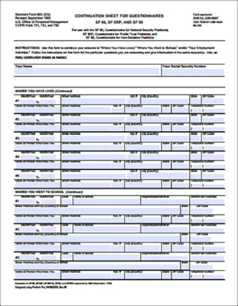 Sf 86 Worksheet by Worksheet Sf 86 Worksheet Caytailoc Free Printables