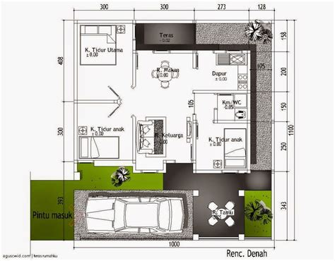 7 gambar denah rumah minimalis type 54 paling modern