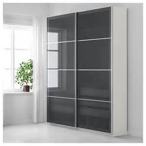 pax wardrobe white uggdal grey glass 200x44x236 cm ikea