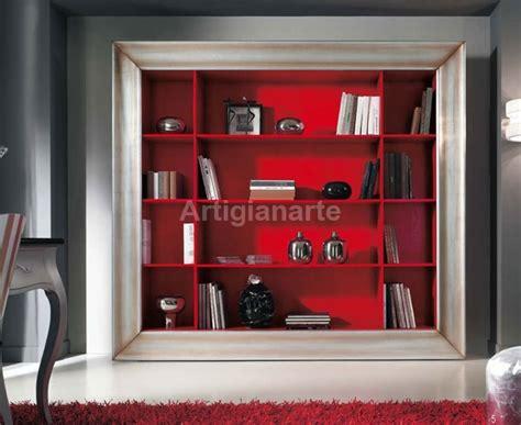 libreria rossa cornice libreria tv artigianarte