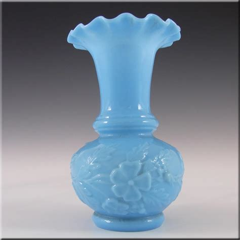 Blue Milk Glass Vase by Portieux Vall 233 Rysthal Blue Milk Glass Vase 163 13 50