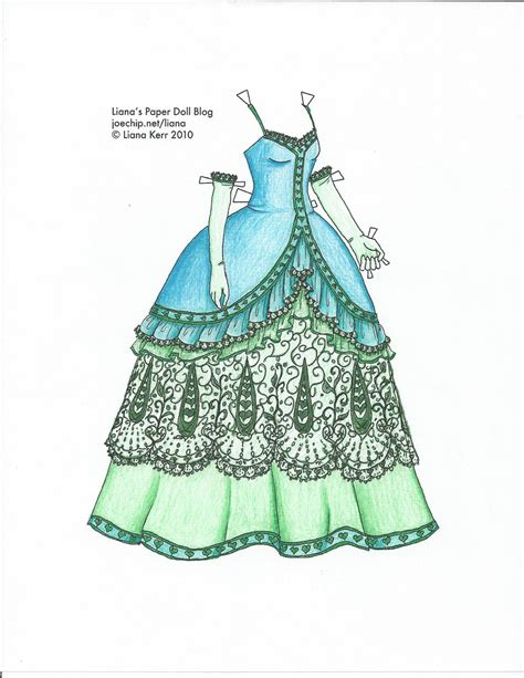 How To Make A Paper Doll Dress - liana s paper dolls dress coloured by