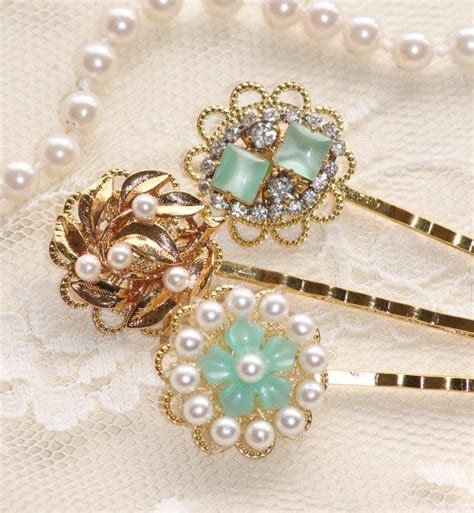 vintage mint green jeweled bridal bobby pins set three