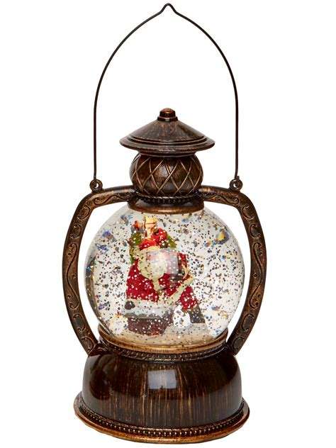 light up glitter water snow globe hurricane lantern led