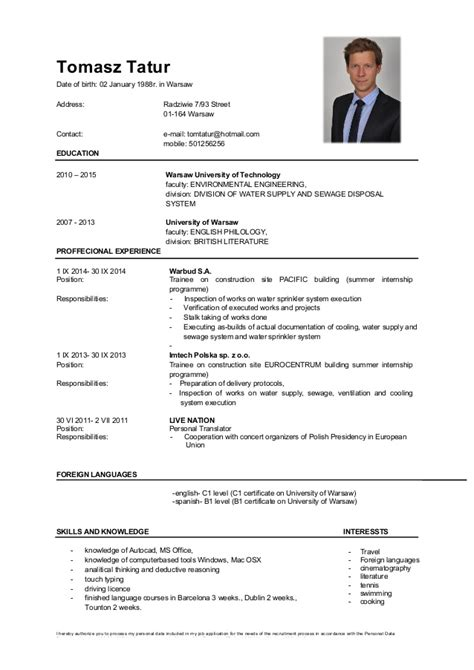 Resume Template Pdf Free by Cv In English Tatur Tomasz