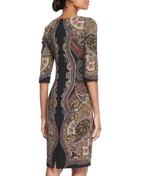 Printed Sleeve Sheath Dress etro 3 4 sleeve printed sheath dress