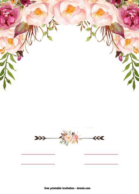 inviation templates free printable boho chic flower baby shower invitation