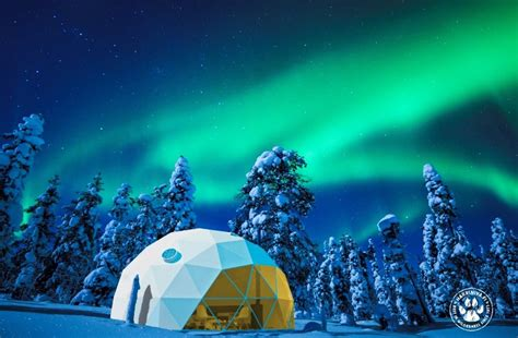 igloo under northern lights new aurora domes gling under the northern lights in