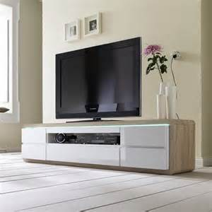 frame tv stand in oak and white gloss and led 23789 furnitur