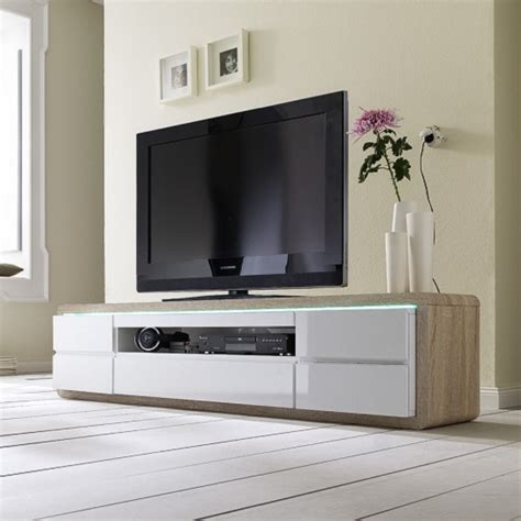 White Tv Table by White High Gloss Tv Stand With Led Lights And Glass 19