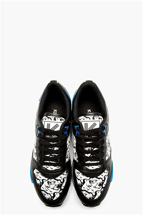 kenzo shoes lyst kenzo black and white tiger print running shoes in