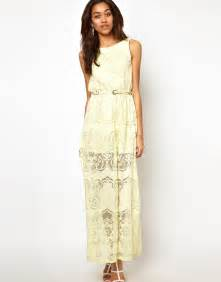 river island lace maxi dress in yellow lime lyst