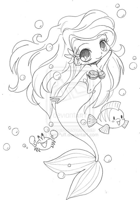 chibi mermaid lineart by kaitoucoon on deviantart little mermaid chibi by yampuff on deviantart