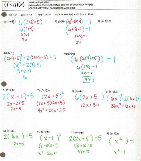 Function Operations Worksheet Answers