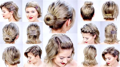 easy hairstyles for short hair youtube 11 super easy hairstyles with bobby pins for short hair