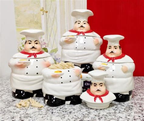 Italian Chef Fish And Real Salt Canister chef kitchen decor webnuggetz