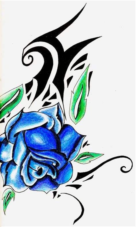 blue roses tattoo meaning blue combine with tribal sketch design