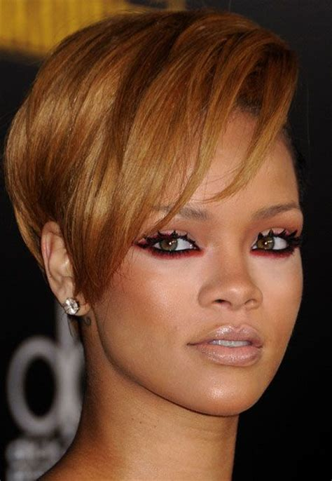 tan skin brown eyes pixie cut hair color rihanna wearing red eyeshadow as quot under eyeliner quot spiked