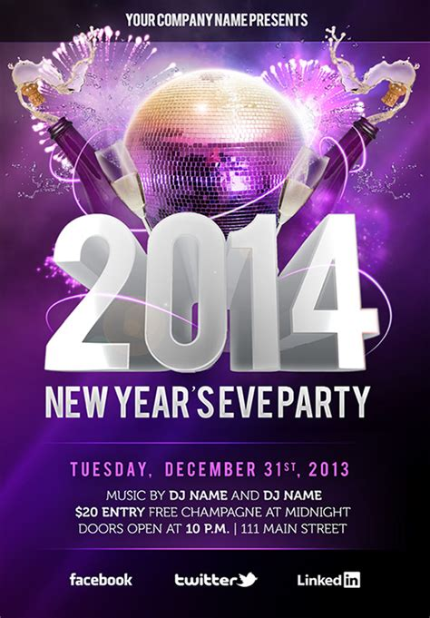 free new year s eve psd party flyer template download on
