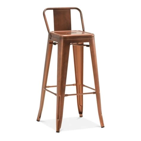 bar stool with back rest tolix style metal bar stool with low back rest vintage copper cult