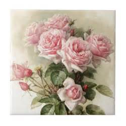 shabby chic roses shabby chic pink roses ceramic tiles zazzle