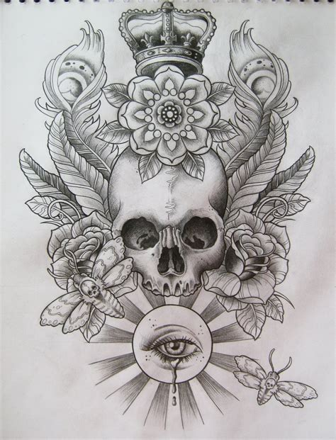 skull with crown tattoo designs skull t shirt design by frosttattoo on deviantart