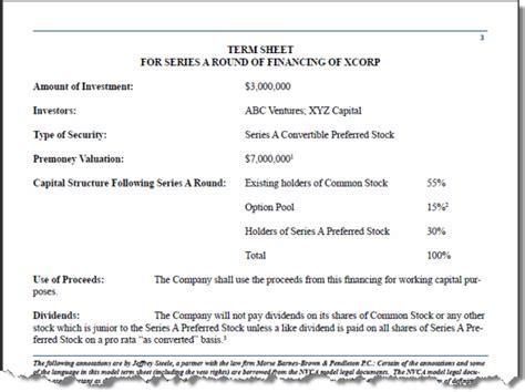 M A Term Sheet Template by Youdo 1 Flint Capital