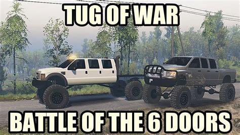 diesel brothers super six mega ram runner vs super six f550 tug of war spin tires