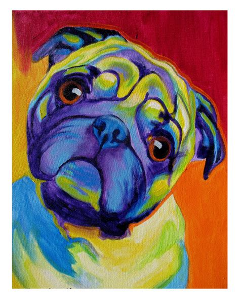 pug artist pug pet portrait dawgart pet portrait artist colorful pet portrait pug